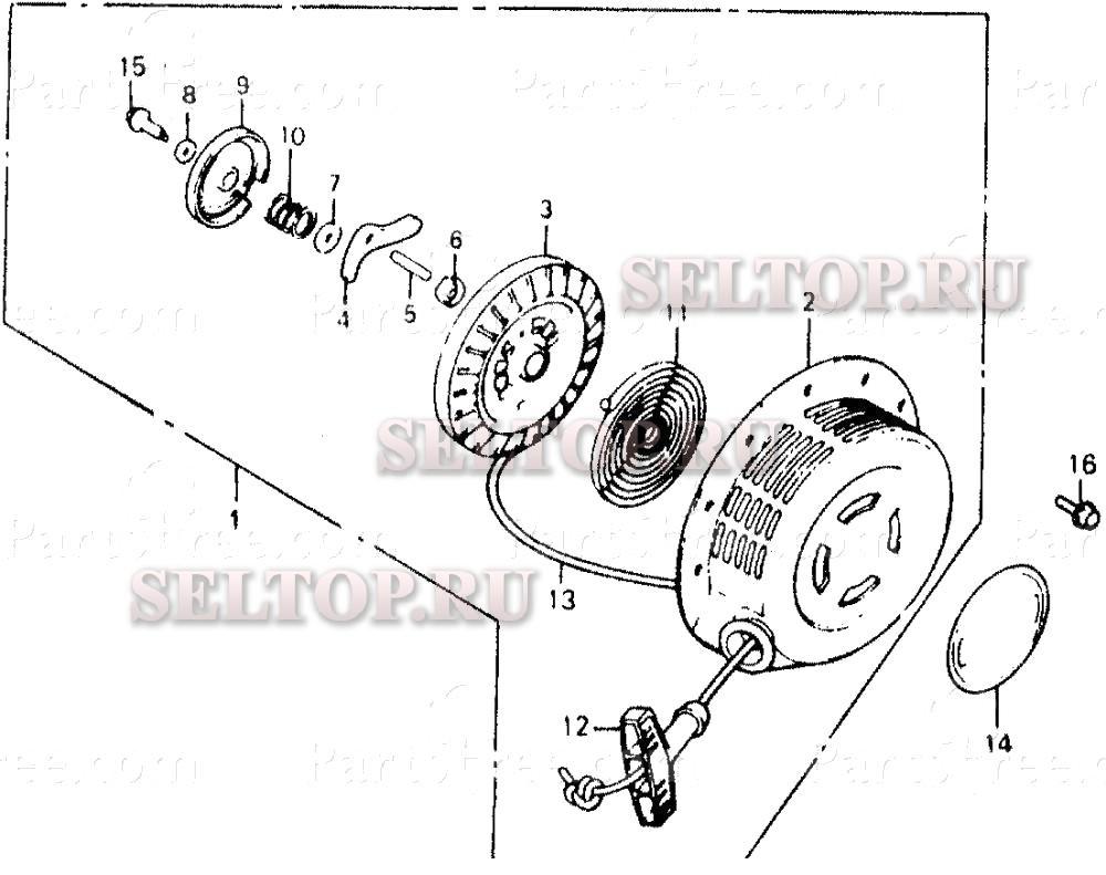 раскладка по запчастям мотопомпы honda wt30x